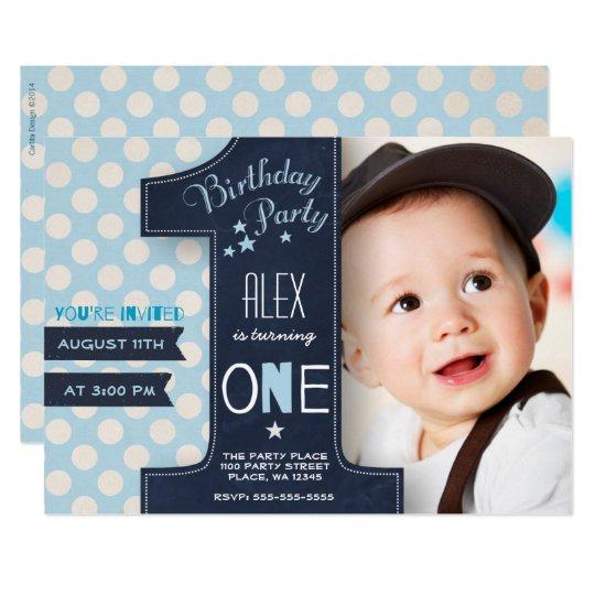 first birthday party invitation boy chalkboard