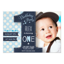 "First Birthday Party Invitation Boy Chalkboard 5"" X 7"" Invitation Card"