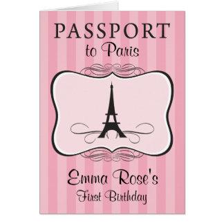 First Birthday Party Paris Passport Card