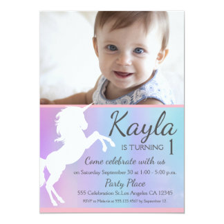 First birthday party, Unicorn theme, photo Card