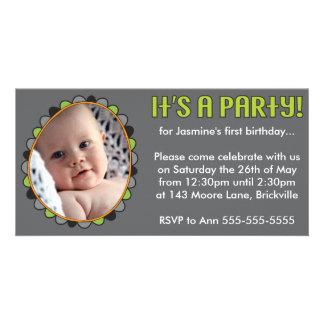 First Birthday Photo Card Invitation