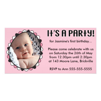 First Birthday Photo Invitation Photo Greeting Card