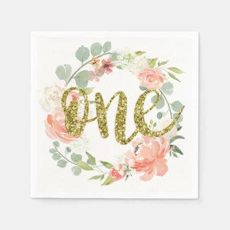 First Birthday Pink Gold Floral Wreath Napkin Disposable Serviette