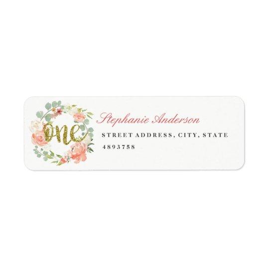 First Birthday Pink Gold Wreath Address Label