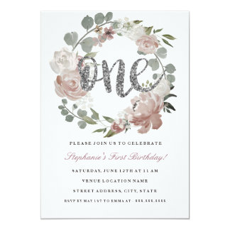 First Birthday Pink Silver Floral Wreath Invite