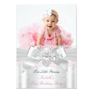 First Birthday Pink White Lace Diamond Tiara Card