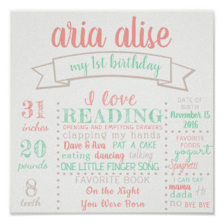 First Birthday Poster Sign