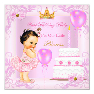 First Birthday Princess Tiara Girl Pink Brunette 13 Cm X 13 Cm Square Invitation Card