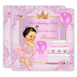 First Birthday Princess Tiara Girl Pink Brunette Card