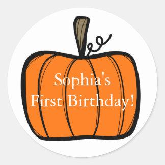 First Birthday Pumpkin Sticker