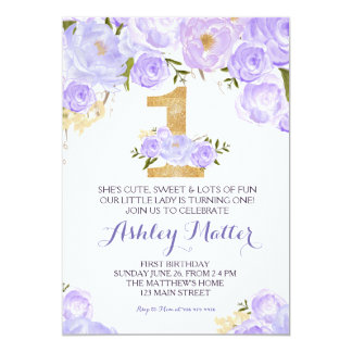 First birthday purple watercolor Floral Invitation