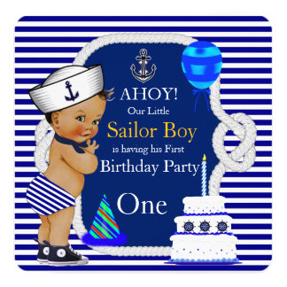 First Birthday Sailor Boy Navy Blue Stripe 13 Cm X 13 Cm Square Invitation Card