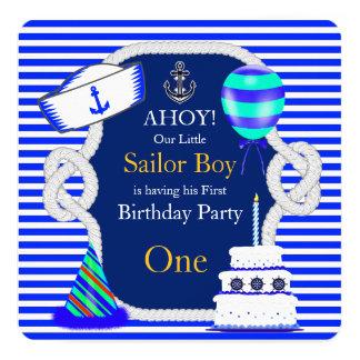 First Birthday Sailor Boy Navy Royal Blue Stripe 13 Cm X 13 Cm Square Invitation Card