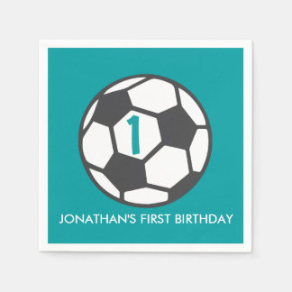 First Birthday Soccer Ball Party Napkins Paper Napkins