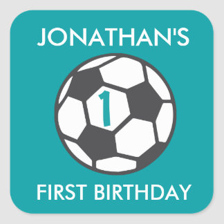 First Birthday Soccer Ball Sticker