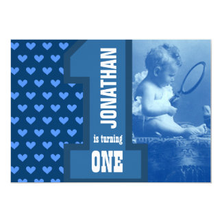 First Boy Baby Birthday Add Your Photo Blue Hearts 13 Cm X 18 Cm Invitation Card