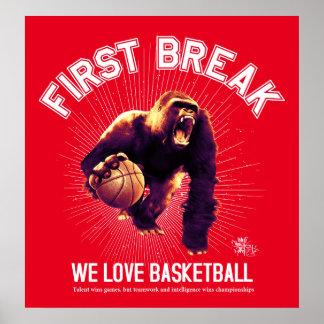 First Break, Love Basketball, gorilla (white ver.) Poster