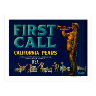 First Call Pear Crate LabelContra Costa, CA Postcard