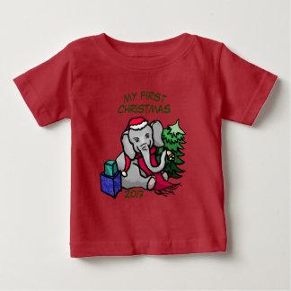 First Christmas Adorable Cartoon Elephant Baby T-Shirt