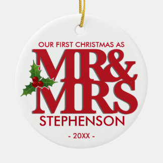 First Christmas as Mr and Mrs married ornament