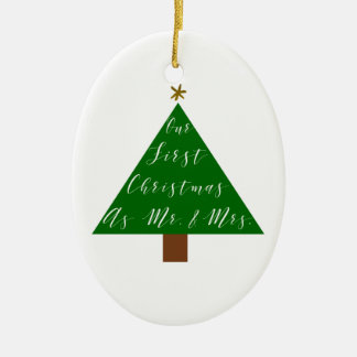 First Christmas as Mr and Mrs Red and White Back Ceramic Ornament