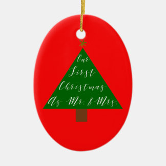 First Christmas as Mr and Mrs with Photo Ceramic Ornament