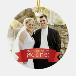 First Christmas as Mr. & Mrs. Photo Ceramic Ornament