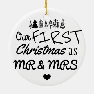 First Christmas As Mr & Mrs Typography | Heart Ceramic Ornament
