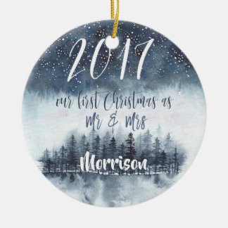 First Christmas as Mr. & Mrs. Watercolor Ornament