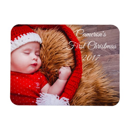 First Christmas Baby Photo Magnet