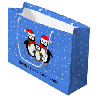 First Christmas custom text penguins blue Large Gift Bag