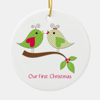 First Christmas Green Polka Dot LoveBirds on Holly Double-Sided Ceramic Round Christmas Ornament