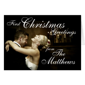 First Christmas Greetings Newly Weds Photo Card