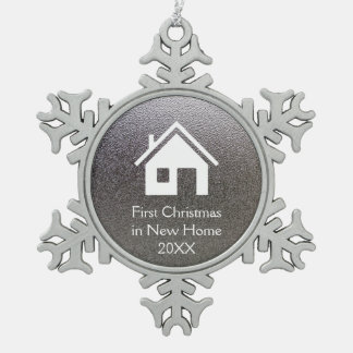 First Christmas in New Home 20XX | Lovely Snowflake Pewter Christmas Ornament