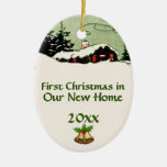 First Christmas in New Home Country Cabin Ceramic Oval Decoration