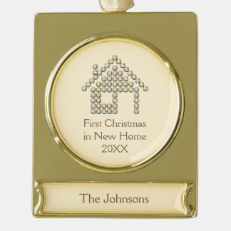 First Christmas in New Home Gold Plated Banner Ornament