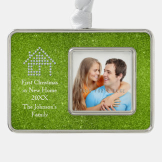 First Christmas in New Home Personalizable Silver Plated Framed Ornament