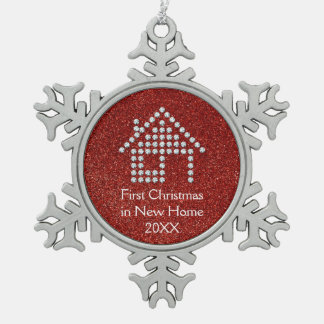 First Christmas in New Home   Red Glitter Pewter Snowflake Decoration