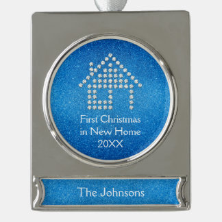 First Christmas in New Home Silver Plated Banner Ornament