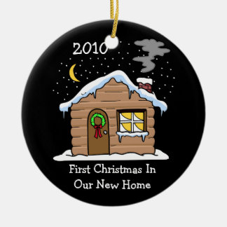First Christmas In Our New Home 2010 (Cabin) Round Ceramic Decoration