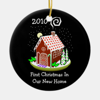 First Christmas In Our New Home 2010 (Gingerbread) Round Ceramic Decoration