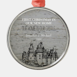 First Christmas in our new Home Castle Metal Ornament
