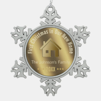 First Christmas In Our New Home | Personalized Snowflake Pewter Christmas Ornament