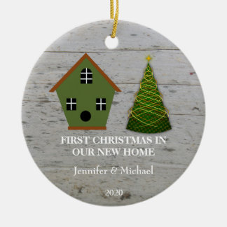 First Christmas in our new Home wood birdhouse Ceramic Ornament