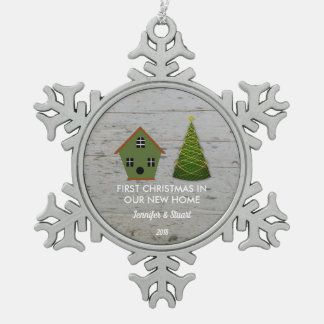 First Christmas in our new Home wood birdhouse Snowflake Pewter Christmas Ornament