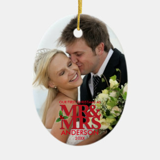 First Christmas married Photo Ornament MR and MRS