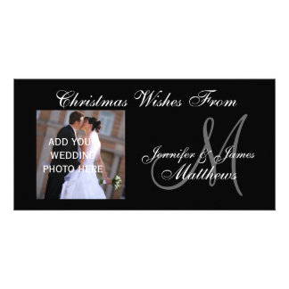 First Christmas Monogram Wedding Photo Card