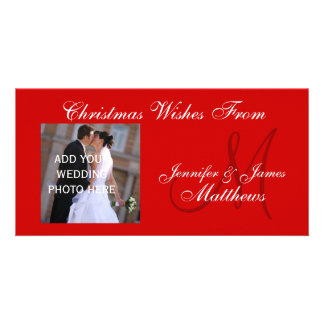 First Christmas Monogram Wedding Photo Card Red