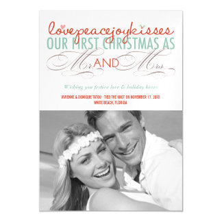 First Christmas Mr. & Mrs. Holiday Photo Greetings Magnetic Invitations