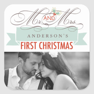 First Christmas Mr. & Mrs. Holiday Photo Sticker